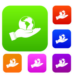 world planet in man hand set color collection vector image