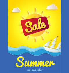 yellow poster summer sale limited offer banner vector image