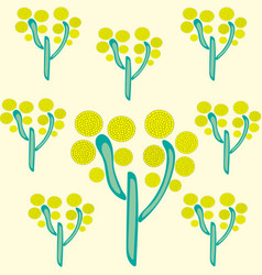 yellow trees on yellow background park summer vector image