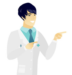 Young asian doctor pointing to the side vector