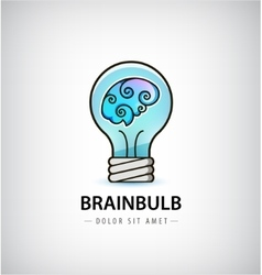 bulb with brain inside logo vector image
