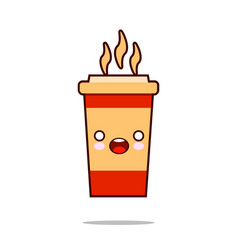 coffee cup cute kawaii smiling and friendly vector image