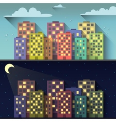 Day and night city vector image vector image