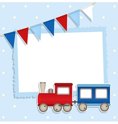 Holiday card with festive flags and sticker train vector