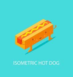 hot dog on plate isometric isometric 3d flat vector image