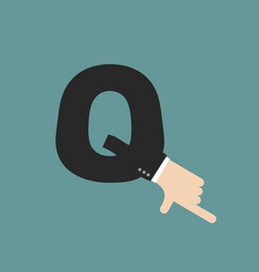 Q letter businessman hand font it shows finger vector