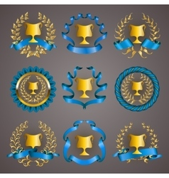 Set of luxury gold cups vector image