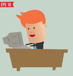 Cartoon business man working with computer - vector image