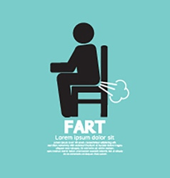 Farting Man On A Chair Black Symbol vector image
