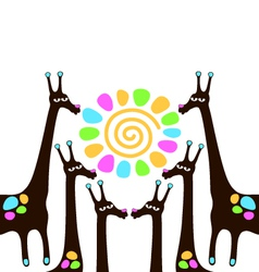 giraffes with sun vector image