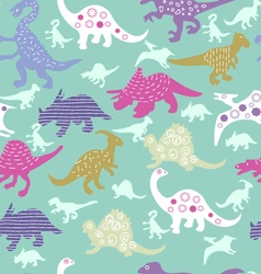 Pattern of colorful different dinosaur s vector image