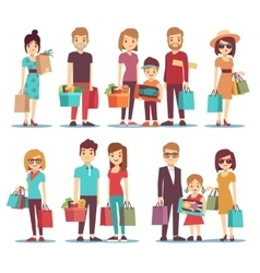 People shopping in mall cartoon characters vector image