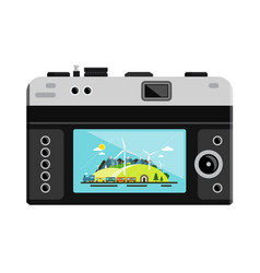 retro digital photo camera with landscape on vector image