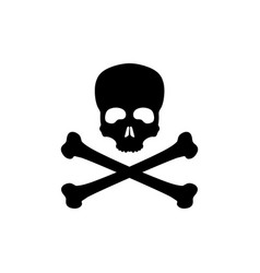black silhouette of skull and bones vector image vector image