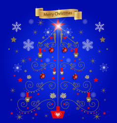 blue background christmas tree from the figures vector image