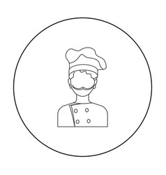 chef icon in outline style isolated on white vector image