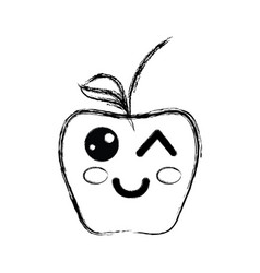 Figure kawaii funny and nice apple fruit vector