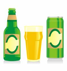 beer bottle glass and wine vector image