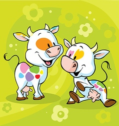 cute colorful cow on green abstract floral vector image vector image