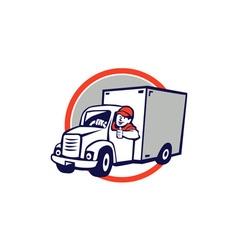 Delivery Van Driver Thumbs Up Circle Cartoon vector image vector image