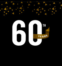 60 years anniversary number with gold ribbon vector