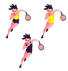 A set of women with long hair in sports clothes vector
