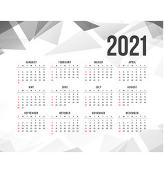 Abstract 2021 new year calendar with gray vector