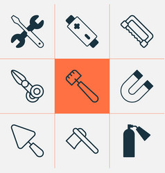 apparatus icons set with battery ax extinguisher vector image