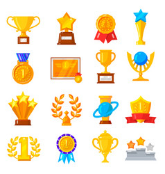 award trophy icon set vector image