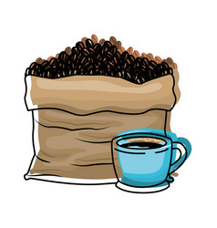 Bag with beans and cup of coffee colorful vector