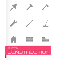 Black construction icon set vector
