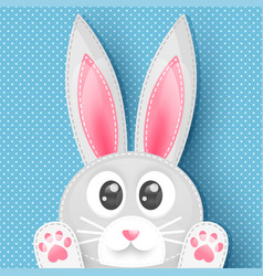 Blue background with dots and cute rabbit vector