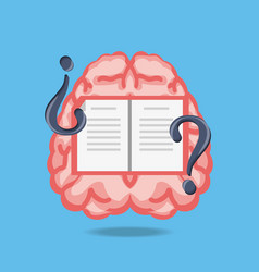 Brain with book and questions symbols vector