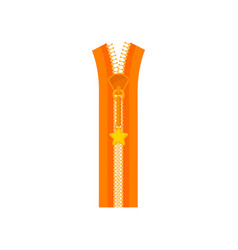 Bright orange zip fastener plastic teeth and small vector