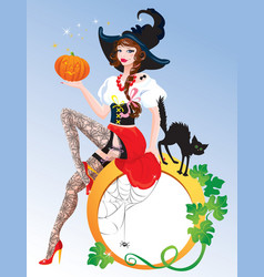 Brunette Pin Up Halloween Girl wearing witch suit vector