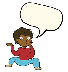 Cartoon boy doing crazy dance with speech bubble vector