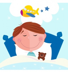 cartoon boy sleeping vector image