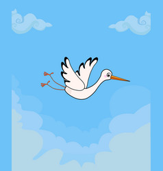 cartoon flying stork on blue cloudy sky background vector image