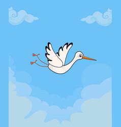 Cartoon flying stork on blue cloudy sky background vector