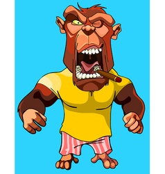 Cartoon scary red monkey gorilla with an open vector