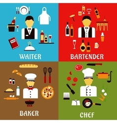 Chef baker waiter and bartender professions vector image