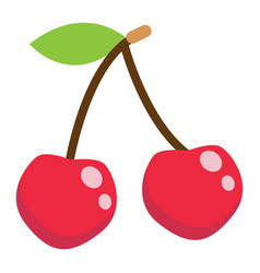 Cherry flat icon fruit and diet graphic vector