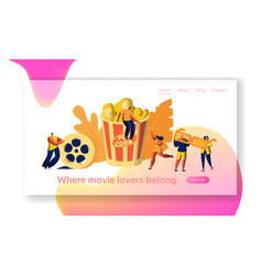 cinema movie time with popcorn and drink web page vector image
