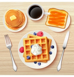 Classic Breakfast Top View Realistic Image vector