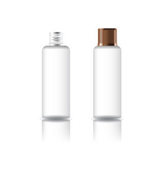 Clear cosmetic round bottle with grooved lid vector