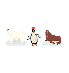 collection cute geometric arctic animals polar vector image