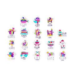 collection kids logo templates set kids cafe vector image