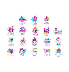 collection of kids logo templates set kids cafe vector image