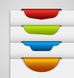 Color label bookmark on the edge of the web page vector