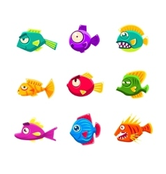Colorful Cartoon Tropical Fish Set vector image